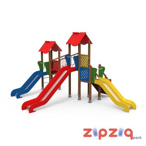 İpli Ahşap Eğim Geçiş Köprülü Çocuk Oyun Grubu