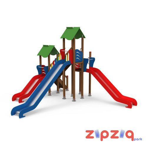 Renkli Ahşap Geçiş Köprülü Çocuk Oyun Grubu