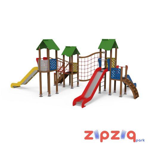 İpli Eğim Geçiş Köprülü Metal Korumalı Çocuk Oyun Grubu