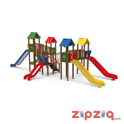 İpli Eğim Geçiş Platformlu Renkli Ahşap Geçiş Köprülü Çocuk Oyun Grubu