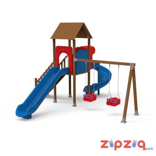 Spiral ve Düz Kaydıraklı Çocuk Oyun Grubu