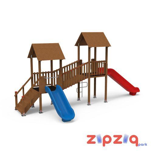 Ahşap Geçiş Platformlu Çocuk Oyun Grubu