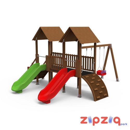 Ahşap Düz Geçiş Köprülü Çocuk Oyun Grubu