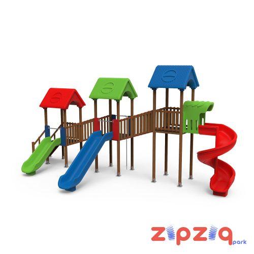Üç Kaydıraklı ve Üç Plastik Çatılı Çocuk Oyun Grubu