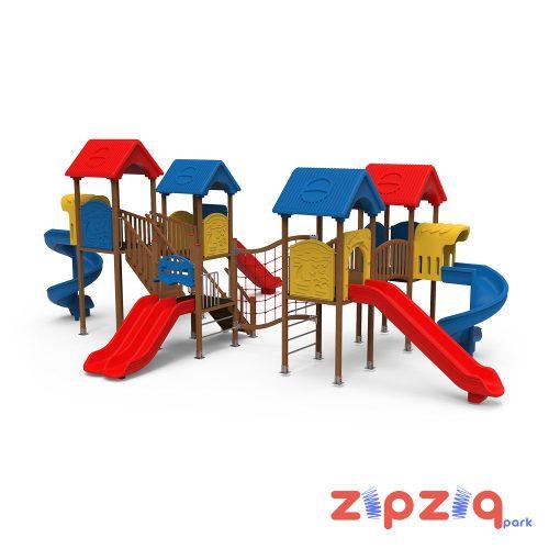 Dört Plastik Çatılı Spiral ve Düz Kaydıraklı Çocuk Oyun Grubu